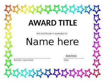 editable    year award templates