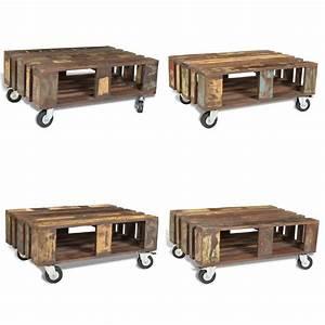 Table Basse Vintage Bois : table basse vintage avec roulettes en bois corto bureau ~ Melissatoandfro.com Idées de Décoration