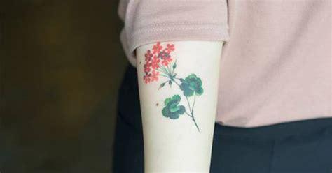 geranium tattoo     forearm