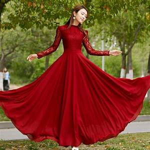 Charming Long Lace Sleeves Pleated Chiffon Long Red Maxi ...