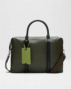 ted baker leather striped document bag in green for men lyst With ted baker leather document bag