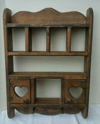 vintage scheibe wood curio wall mount open shelf display solid pine  tall  picclick