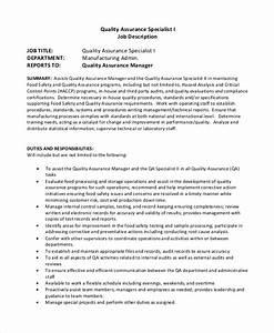Free 10  Sample Quality Assurance Job Description