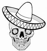 Coloring Sombrero Dia Muertos Los Hat Mexican Dead Printable Calaca Sugar Skulls Skull Sheets Sombreros Adult Sleeping Under Holiday Getcolorings sketch template