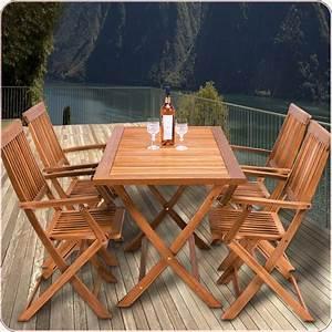 Table Jardin En Bois : ensemble table et 4 chaises de jardin sydney bois achat vente salon de jardin 1 table 4 ~ Dode.kayakingforconservation.com Idées de Décoration