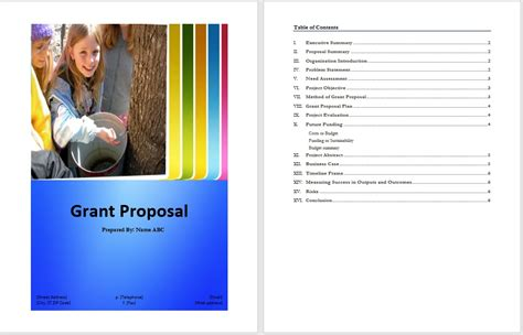 grant proposal template word templates