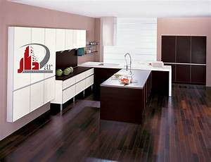 kitchen cabinets modern two tone white dark wood peninsula