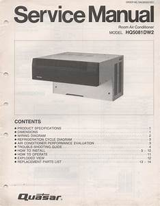 Quasar Hq5081dw2 Air Conditioner Service Manual