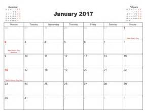january 2017 calendar printable pdf calendar template