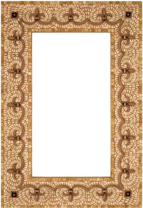 stone mosaic mirror frame with metal inlay mediterranean