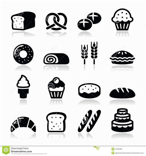 pictogramme cuisine bakery pastry icons set bread donut cake cupcake