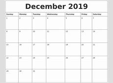 December 2019 Calendar 2018 calendar printable