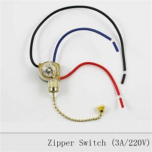 Lamp pull chain zipper switch ceiling light wall fan wire double