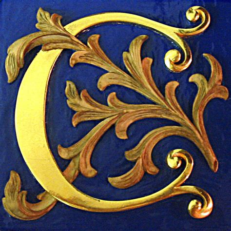 illuminated letter c carved in lime water gilt illuminated letter wood 39560