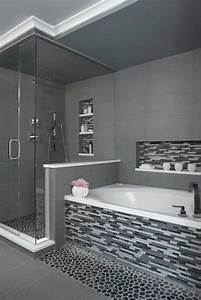 idee decoration salle de bain salle de bains grise With mosaique grise salle de bain