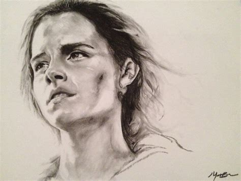 hermione charcoal drawing  sampldbeans  deviantart