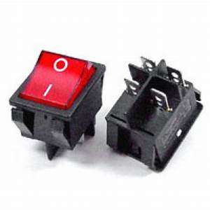 Rocker Switch Red On  Off Dpst  With Lamp  16a 250vac Panel