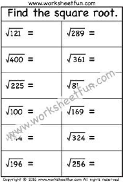 1000+ Images About Squares & Square Roots On Pinterest  Square Roots, Worksheets And Squares