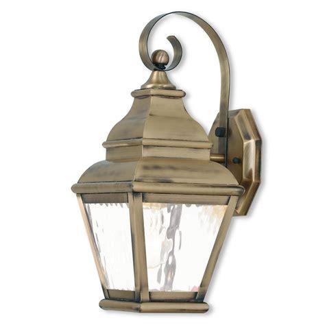 livex lighting exeter 1 light antique brass outdoor wall