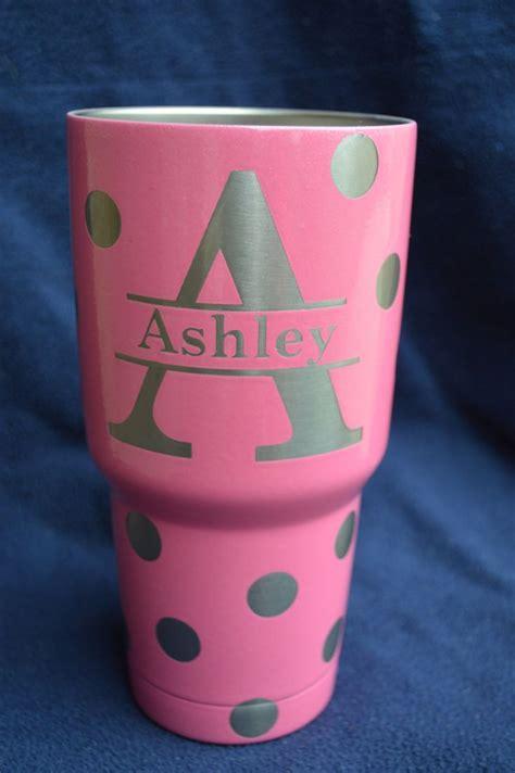 rtic  oz tumbler custompolka dot  initials  graphicdips  etsy yeti cup designs