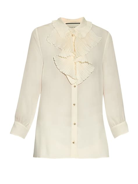 gucci blouse gucci ruffle trimmed silk blouse in white lyst
