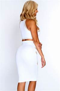 White Beige Mesh Crop Top Pencil Skirt Sexy Outfit