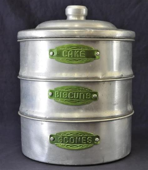 Antique Canisters Kitchen by Aluminum Stackable Kitchen Canisters With Green Labels