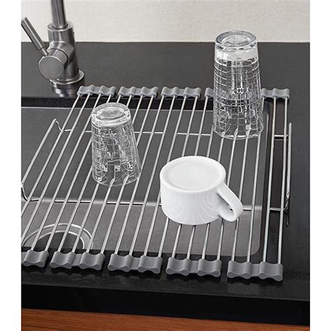 dish rack that fits in sink stainless foldable drying rack the container store