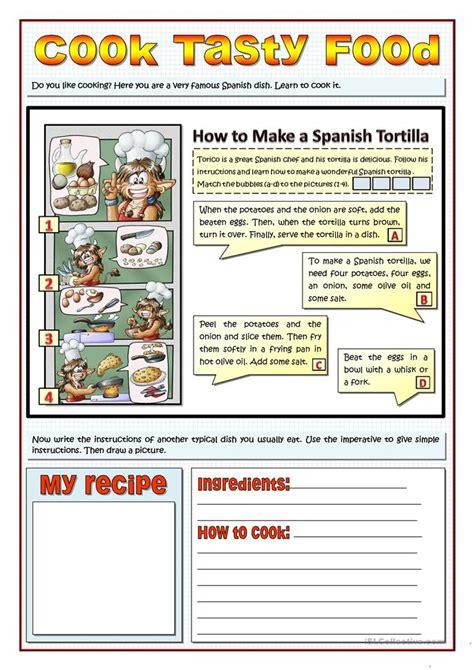 cook tasty food recipes  imperatives worksheet