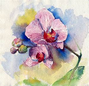 Watercolor flower painting print Orchid flower