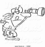 Telescope Coloring Cartoon Spyglass Outlined Through Vector Peering Pirate Toonaday sketch template