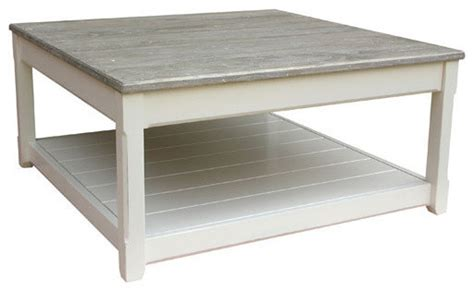 Rustic farmhouse finish inspired details. Cottage Square Coffee Table, White with Riverwash Top - Farmhouse - Coffee Tables - by Custom ...