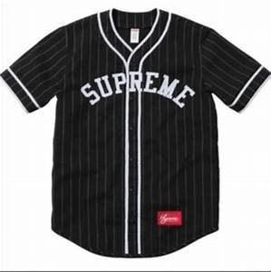 Shirt: baseball jersey, jersey, supreme, black, white ...