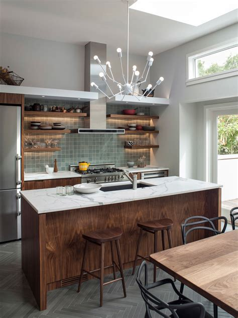 herringbone tile floor Kitchen Contemporary with accent