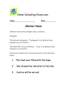 concrete and abstract nouns lesson plans worksheets