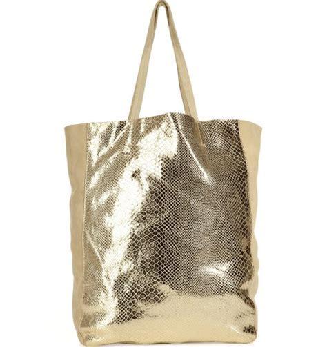 Sandro Beige With Gold Snake Print Bag