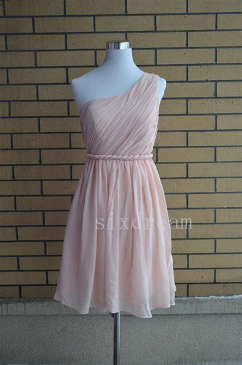light blush pink dress one shoulder short knee length prom dress light blush pink