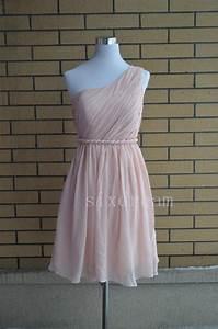 One Shoulder Short Knee Length Prom Dress,Light Blush Pink ...