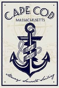 cape cape cod anchor screen printed poster | perfectpeople ...