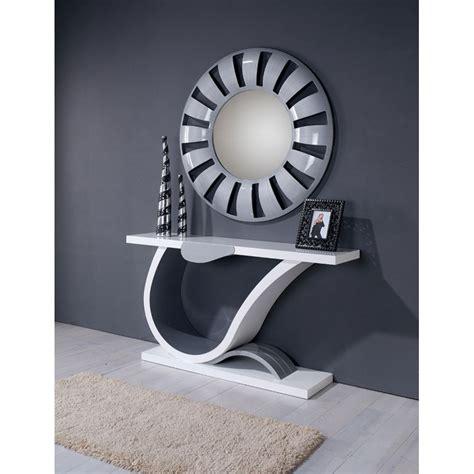 chambre couleur grise ensemble console contemporaine laque 1 tiroir miroir