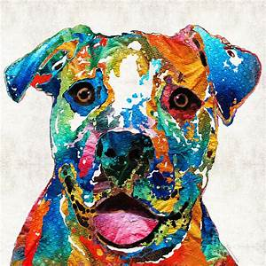 Colorful Dog Pit Bull Art - Happy - By Sharon Cummings ...