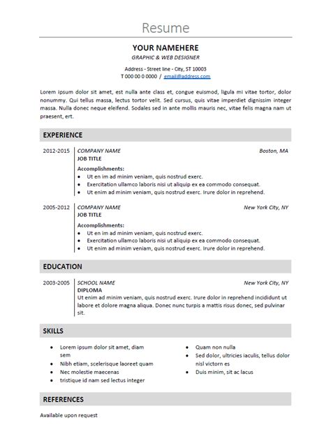 free classic and resume template for ms word docx