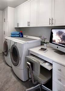 Laundry Room & Home Office - Beach Style - Laundry Room