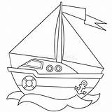 Sail Coloring Outline Ship Cartoon Boat Illustrations Around Transport Children Printable Vectors sketch template