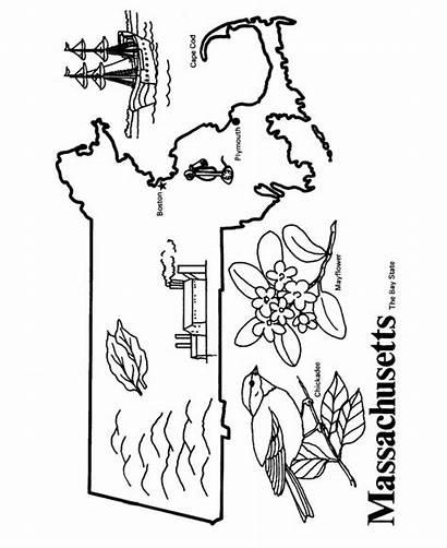 State Studies Massachusetts Coloring Outline Social Printable