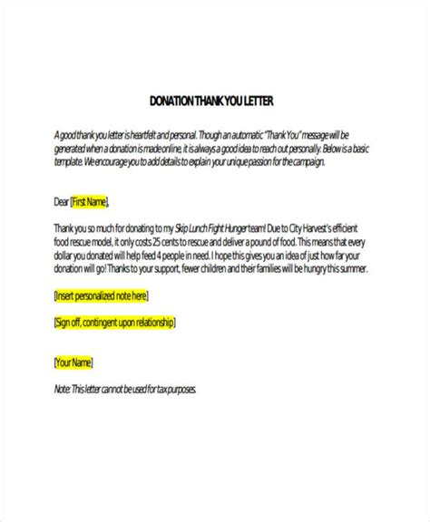 sample donor thank you letter 69 thank you letter examples