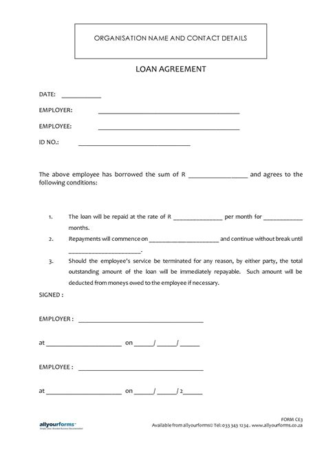 printable loan template form generic contract