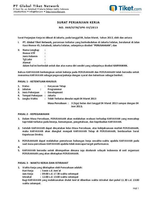 Contoh Surat Kontrak Kerja Karyawan – Extra