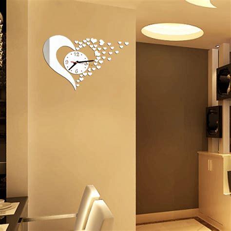 stickers miroir cuisine horloge murale stickers coeur deco 39 clock