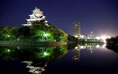Japan Night Hiroshima Wallpapers Japanese Castle Backgrounds